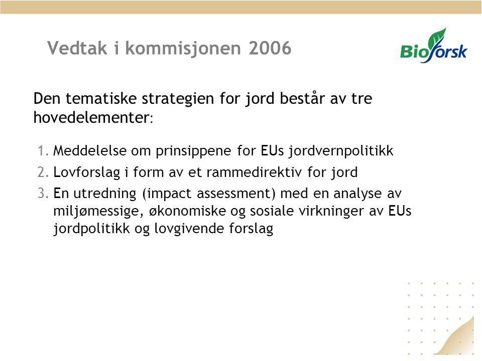 Vedtak i kommisjonen 2006 1.Meddelelse om prinsippene for EUs jordvernpolitikk 2.Lovforslag i form av et rammedirektiv for jord 3.En utredning (impact assessment) med en analyse av miljømessige, økonomiske og sosiale virkninger av EUs jordpolitikk og lovgivende forslag Den tematiske strategien for jord består av tre hovedelementer :