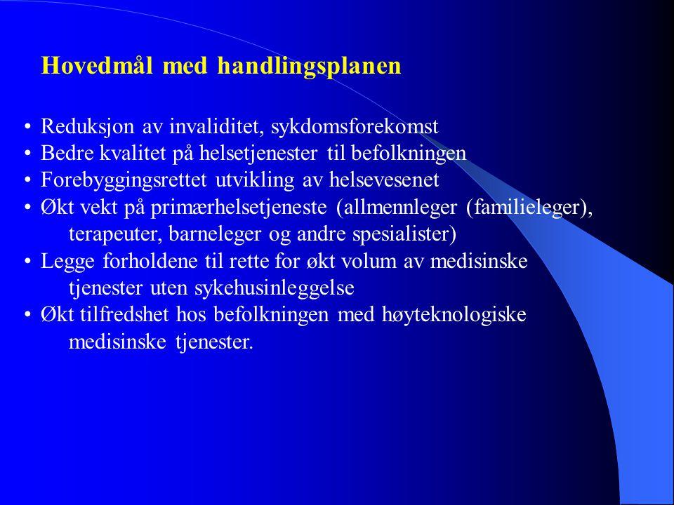 Hovedmål med handlingsplanen •Reduksjon av invaliditet, sykdomsforekomst •Bedre kvalitet på helsetjenester til befolkningen •Forebyggingsrettet utvikling av helsevesenet •Økt vekt på primærhelsetjeneste (allmennleger (familieleger), terapeuter, barneleger og andre spesialister) •Legge forholdene til rette for økt volum av medisinske tjenester uten sykehusinleggelse •Økt tilfredshet hos befolkningen med høyteknologiske medisinske tjenester.