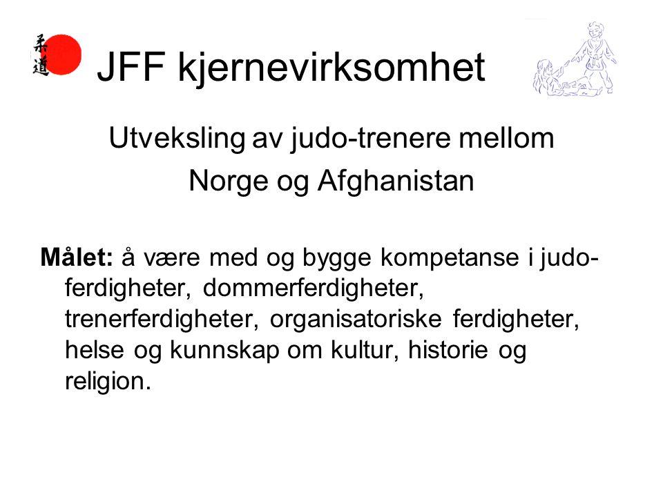 Utveksling av judo-trenere mellom Norge og Afghanistan Målet: å være med og bygge kompetanse i judo- ferdigheter, dommerferdigheter, trenerferdigheter, organisatoriske ferdigheter, helse og kunnskap om kultur, historie og religion.