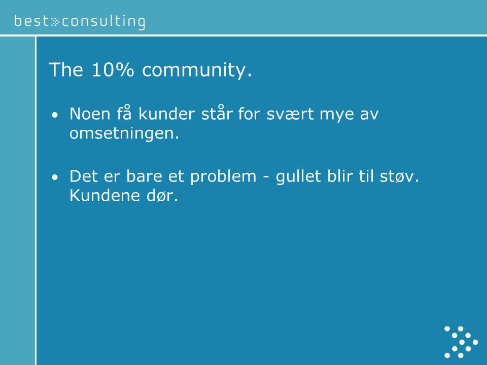 The 10% community.• Noen få kunder står for svært mye av omsetningen.