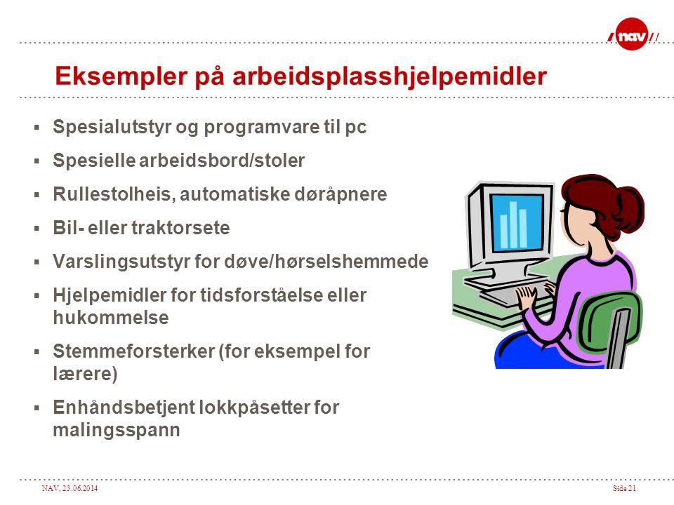 NAV, 23.06.2014Side 21 Eksempler på arbeidsplasshjelpemidler  Spesialutstyr og programvare til pc  Spesielle arbeidsbord/stoler  Rullestolheis, aut