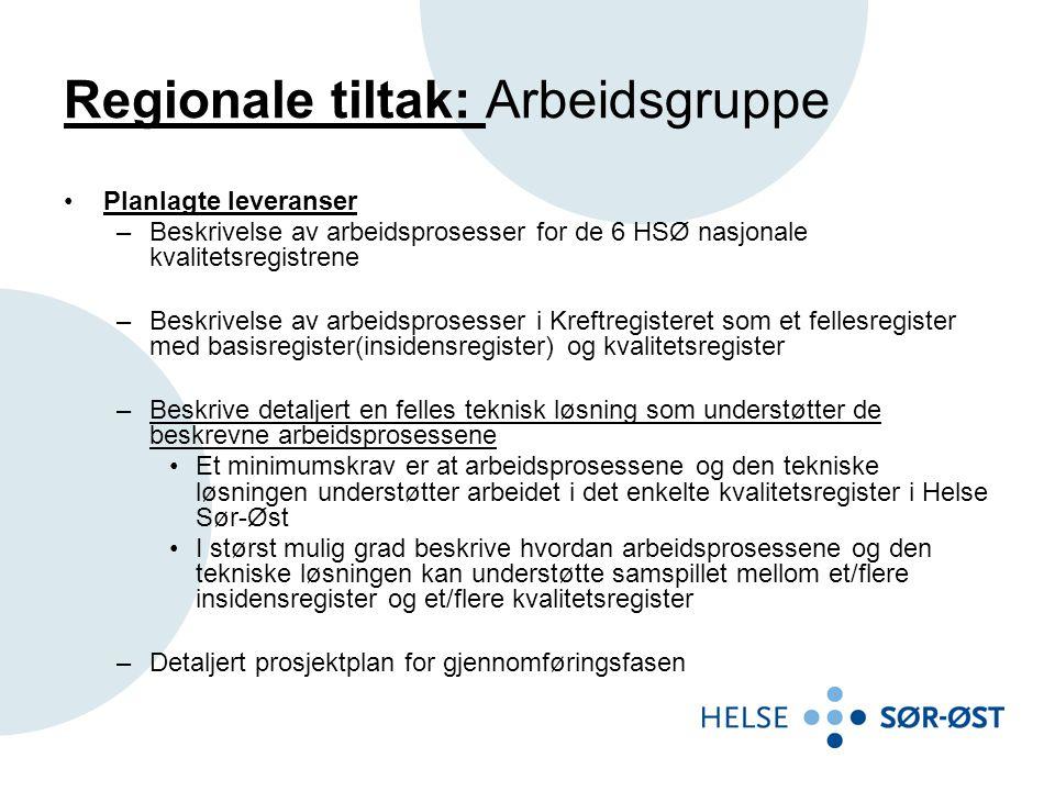 Regionale tiltak: Arbeidsgruppe •Planlagte leveranser –Beskrivelse av arbeidsprosesser for de 6 HSØ nasjonale kvalitetsregistrene –Beskrivelse av arbe