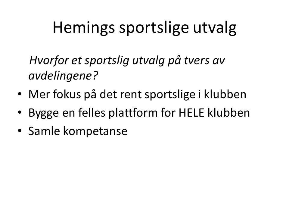Hemings sportslige utvalg Hvorfor et sportslig utvalg på tvers av avdelingene? • Mer fokus på det rent sportslige i klubben • Bygge en felles plattfor