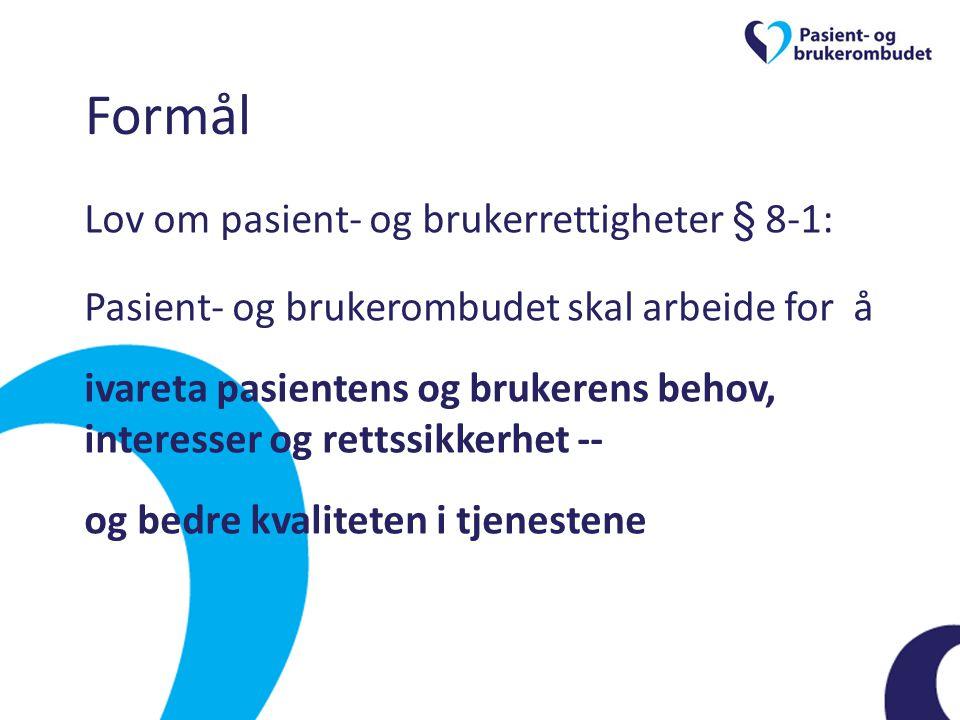 Formål Lov om pasient- og brukerrettigheter § 8-1: Pasient- og brukerombudet skal arbeide for å ivareta pasientens og brukerens behov, interesser og r
