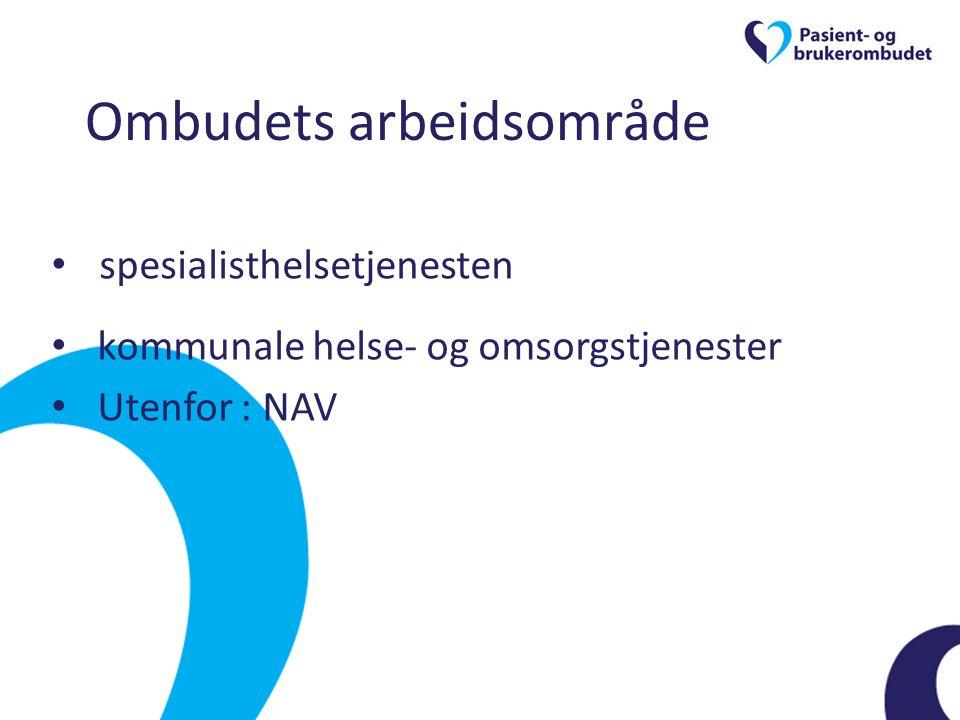 Ombudets arbeidsområde • spesialisthelsetjenesten • kommunale helse- og omsorgstjenester • Utenfor : NAV