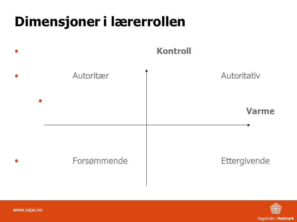 Dimensjoner i lærerrollen • Kontroll •Autoritær Autoritativ • Varme •Forsømmende Ettergivende www.sepu.no