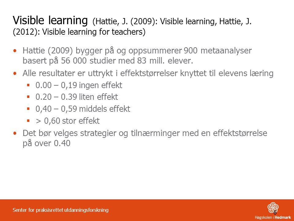 6 Senter for praksisrettet utdanningsforskning Visible learning (Hattie, J. (2009): Visible learning, Hattie, J. (2012): Visible learning for teachers