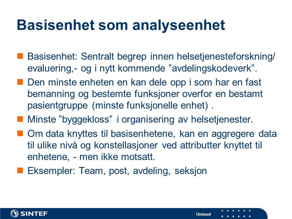 Unimed Basisenhet som analyseenhet  Basisenhet: Sentralt begrep innen helsetjenesteforskning/ evaluering,- og i nytt kommende avdelingskodeverk .