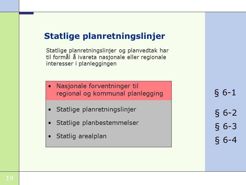 19 Statlige planretningslinjer •Statlige planretningslinjer •Statlige planbestemmelser •Statlig arealplan •Nasjonale forventninger til regional og kommunal planlegging Statlige planretningslinjer og planvedtak har til formål å ivareta nasjonale eller regionale interesser i planleggingen § 6-1 § 6-2 § 6-3 § 6-4