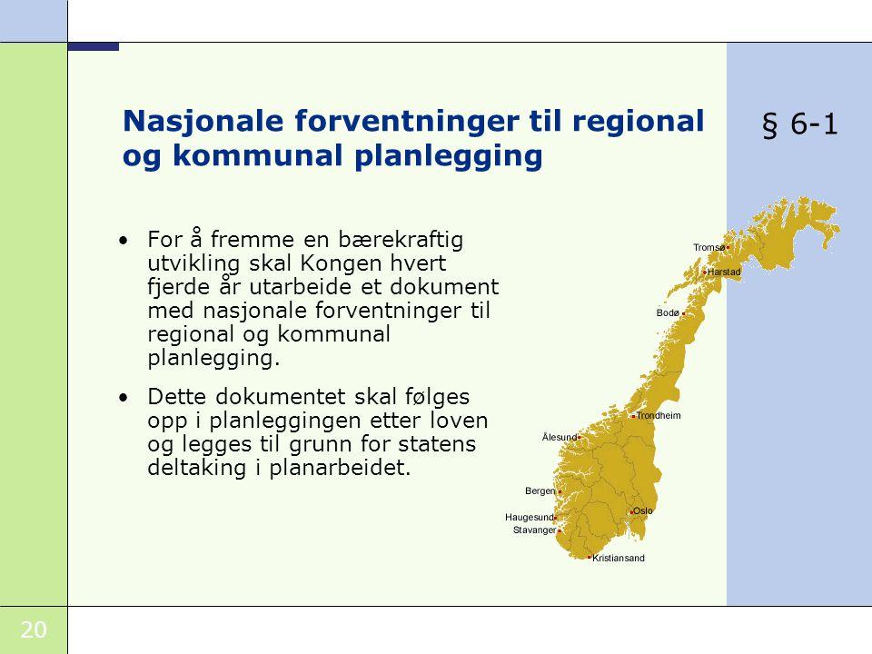 20 Nasjonale forventninger til regional og kommunal planlegging •For å fremme en bærekraftig utvikling skal Kongen hvert fjerde år utarbeide et dokument med nasjonale forventninger til regional og kommunal planlegging.