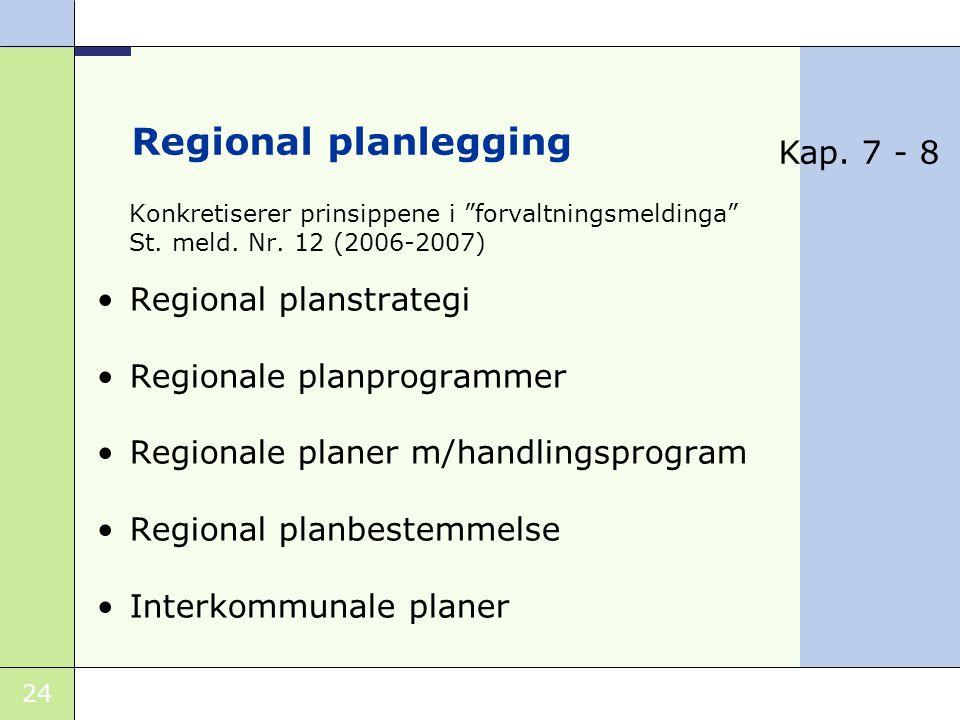 24 Regional planlegging Konkretiserer prinsippene i forvaltningsmeldinga St.