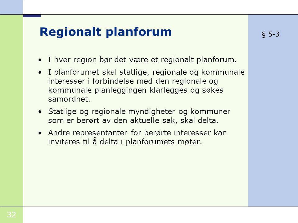 32 Regionalt planforum •I hver region bør det være et regionalt planforum.