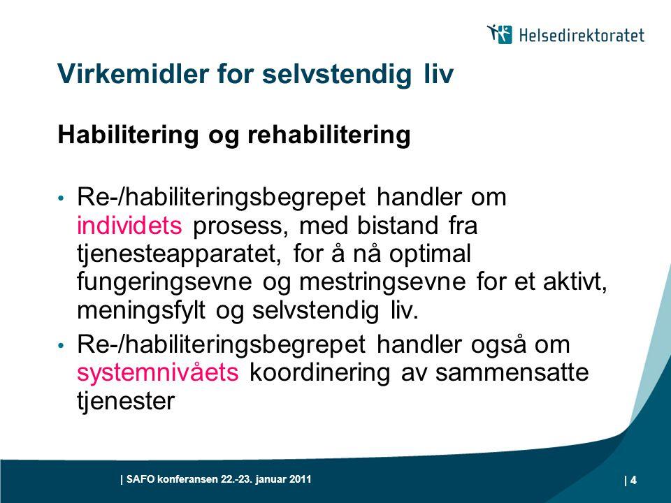 | SAFO konferansen 22.-23. januar 2011 | 4 Virkemidler for selvstendig liv Habilitering og rehabilitering • Re-/habiliteringsbegrepet handler om indiv