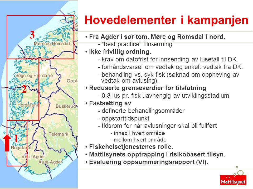 "Hovedelementer i kampanjen • Fra Agder i sør tom. Møre og Romsdal i nord. - ""best practice"" tilnærming • Ikke frivillig ordning. - krav om datofrist f"