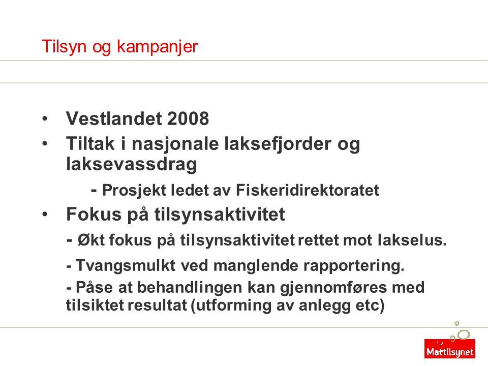 Tilsyn og kampanjer •Vestlandet 2008 •Tiltak i nasjonale laksefjorder og laksevassdrag - Prosjekt ledet av Fiskeridirektoratet •Fokus på tilsynsaktivi