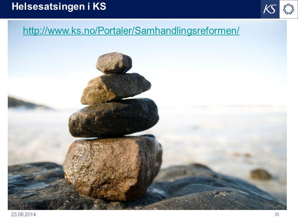 Helsesatsingen i KS 23.06.2014 35 http://www.ks.no/Portaler/Samhandlingsreformen/