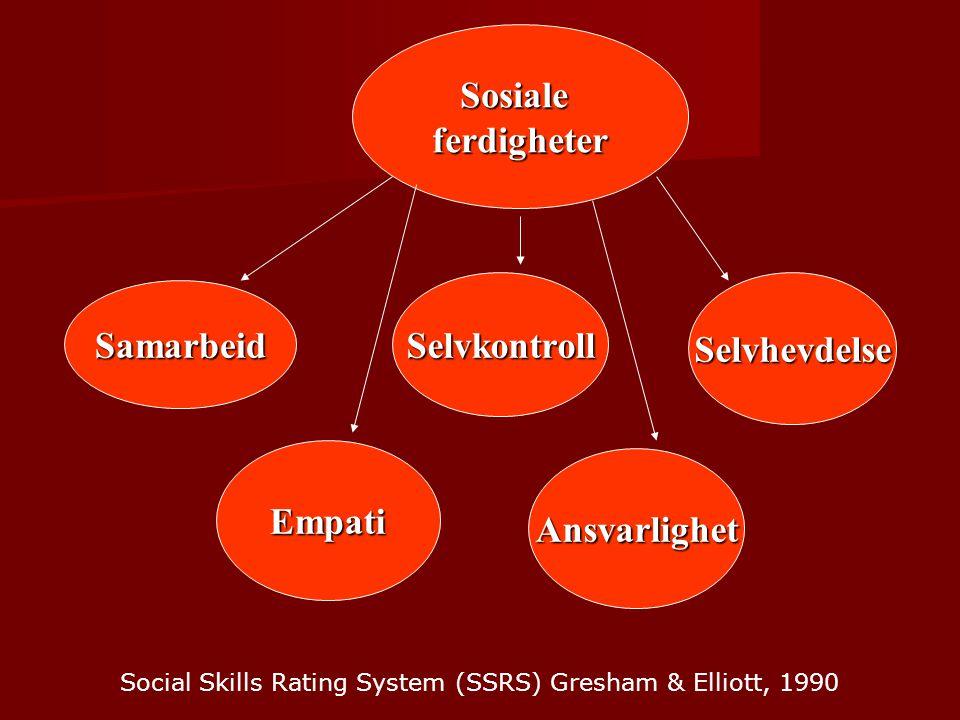 Sosialeferdigheter Samarbeid SelvkontrollSelvhevdelse Empati Ansvarlighet Social Skills Rating System (SSRS) Gresham & Elliott, 1990