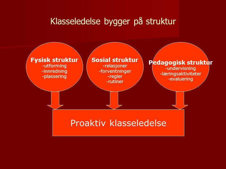 Klasseledelse bygger på struktur Fysisk struktur -utforming -innredning -plassering Sosial struktur -relasjoner -forventninger -regler -rutiner Pedagogisk struktur -undervisning -læringsaktiviteter -evaluering Proaktiv klasseledelse