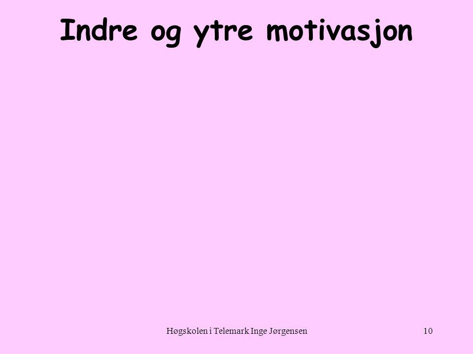 Høgskolen i Telemark Inge Jørgensen10 Indre og ytre motivasjon