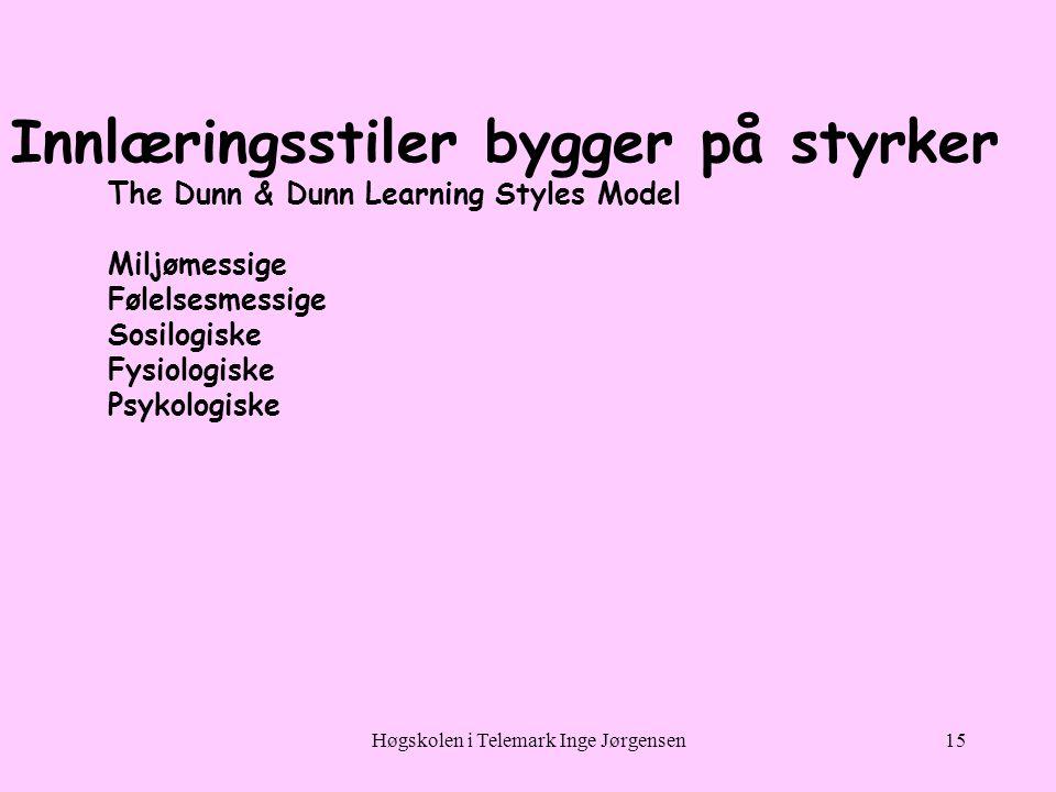 Høgskolen i Telemark Inge Jørgensen15 Innlæringsstiler bygger på styrker The Dunn & Dunn Learning Styles Model Miljømessige Følelsesmessige Sosilogiske Fysiologiske Psykologiske