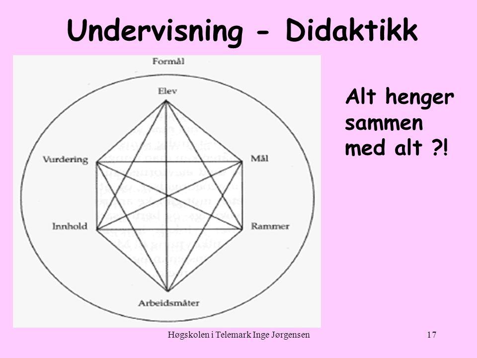 Høgskolen i Telemark Inge Jørgensen17 Undervisning - Didaktikk Alt henger sammen med alt ?!