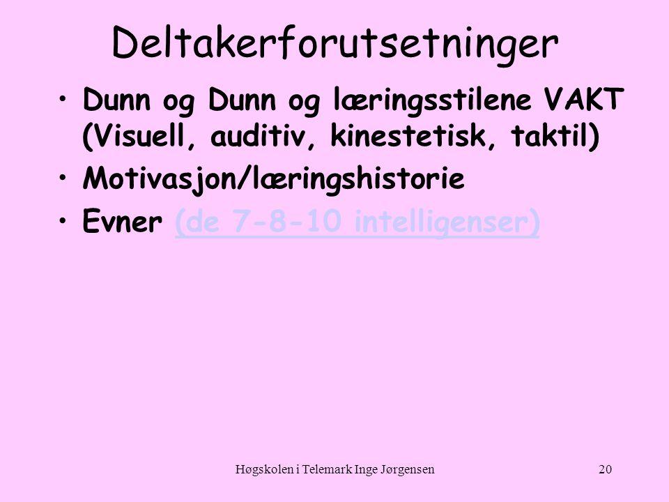 Høgskolen i Telemark Inge Jørgensen20 Deltakerforutsetninger •Dunn og Dunn og læringsstilene VAKT (Visuell, auditiv, kinestetisk, taktil) •Motivasjon/læringshistorie •Evner (de 7-8-10 intelligenser)(de 7-8-10 intelligenser)