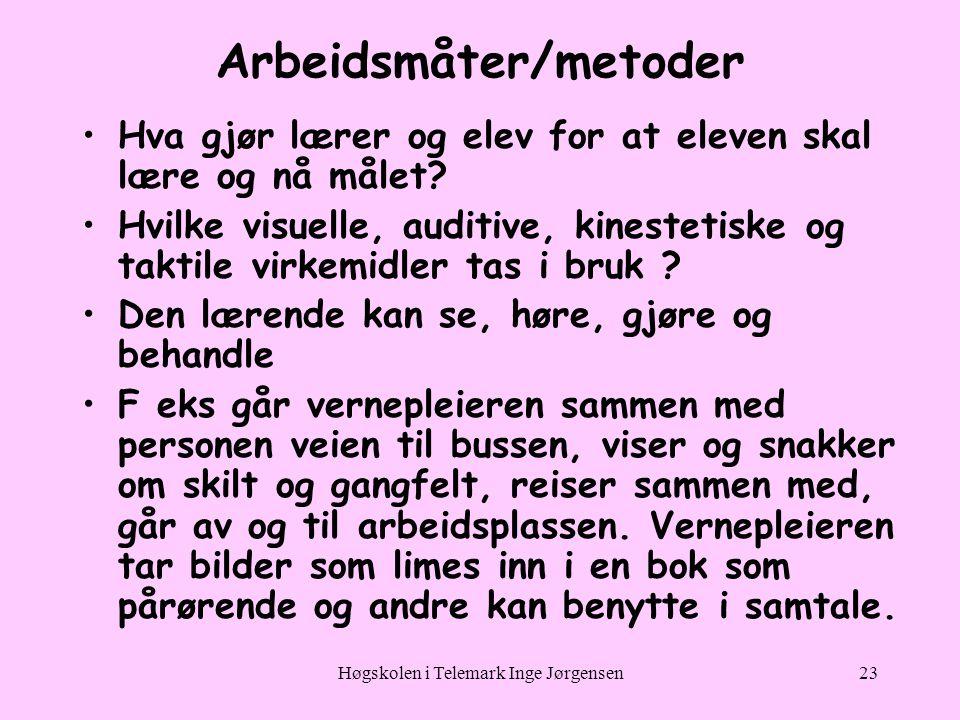 Høgskolen i Telemark Inge Jørgensen23 Arbeidsmåter/metoder •Hva gjør lærer og elev for at eleven skal lære og nå målet.
