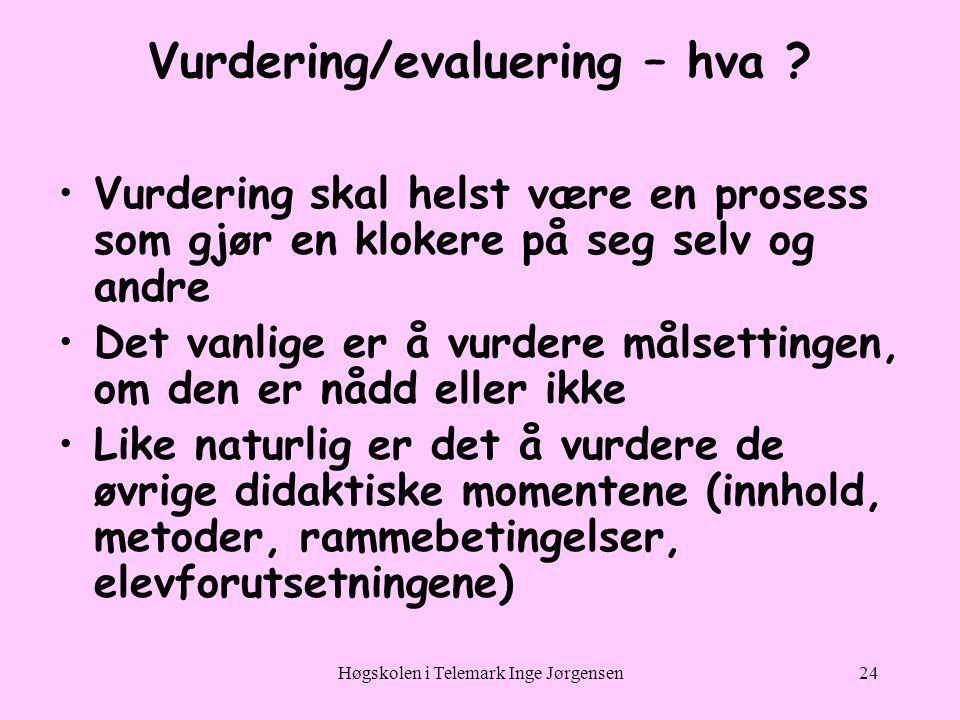Høgskolen i Telemark Inge Jørgensen24 Vurdering/evaluering – hva .