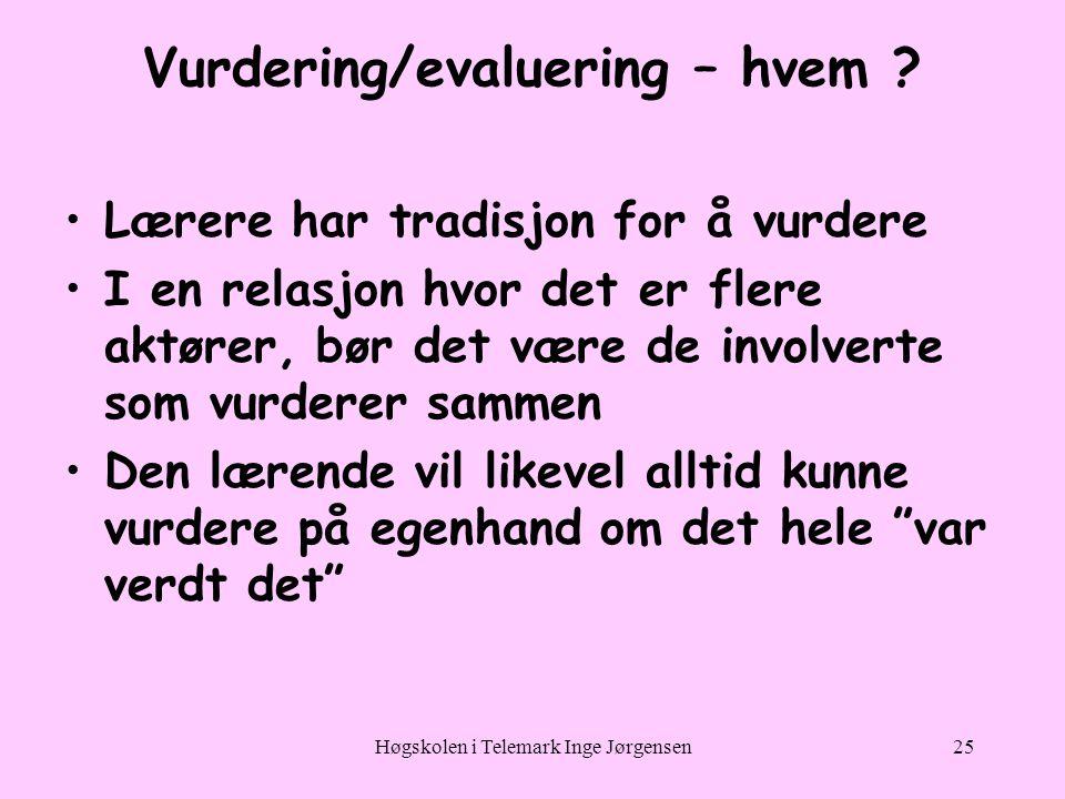 Høgskolen i Telemark Inge Jørgensen25 Vurdering/evaluering – hvem .