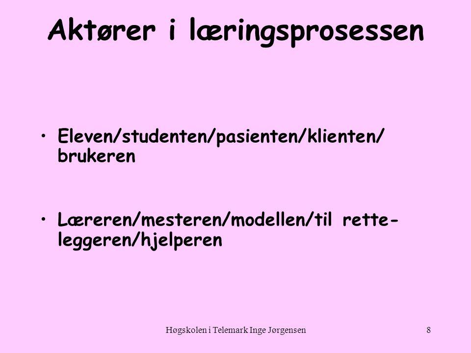 Høgskolen i Telemark Inge Jørgensen8 Aktører i læringsprosessen •Eleven/studenten/pasienten/klienten/ brukeren •Læreren/mesteren/modellen/til rette- leggeren/hjelperen