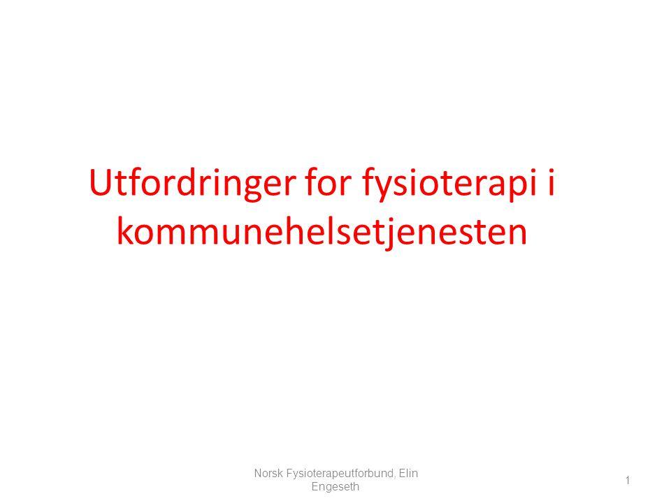Utfordringer for fysioterapi i kommunehelsetjenesten 1 Norsk Fysioterapeutforbund, Elin Engeseth