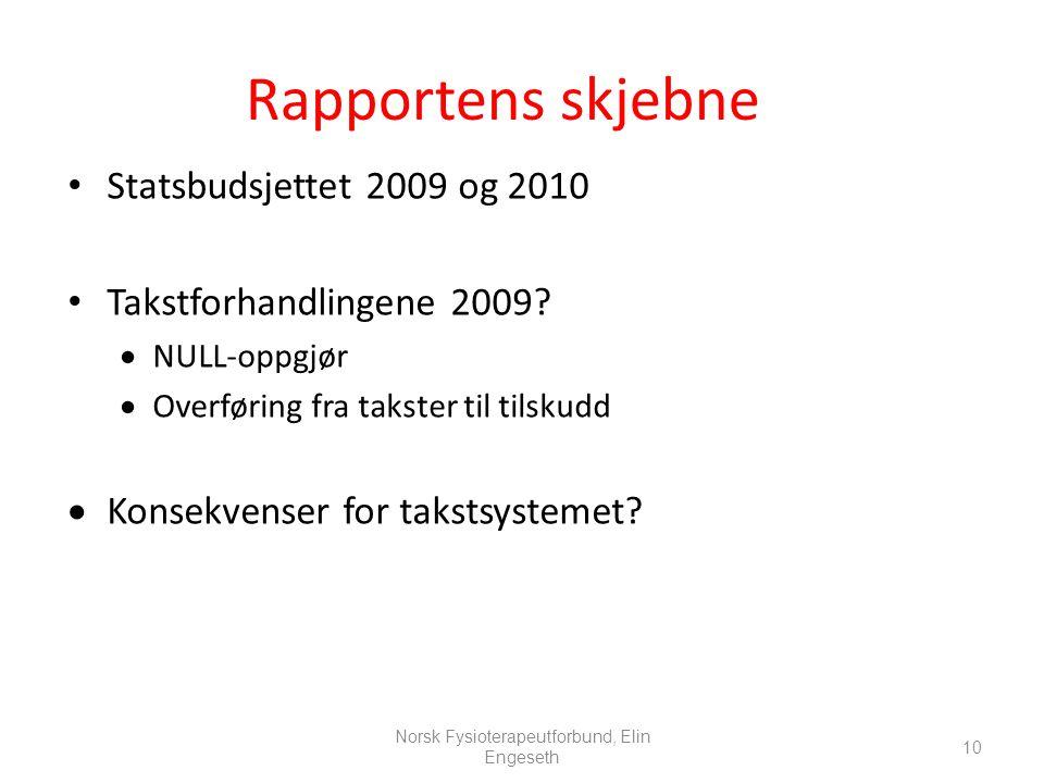10 Rapportens skjebne • Statsbudsjettet 2009 og 2010 • Takstforhandlingene 2009?  NULL-oppgjør  Overføring fra takster til tilskudd  Konsekvenser f