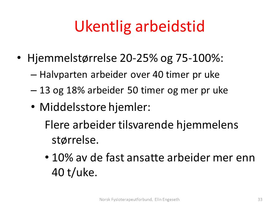 Ukentlig arbeidstid • Hjemmelstørrelse 20-25% og 75-100%: – Halvparten arbeider over 40 timer pr uke – 13 og 18% arbeider 50 timer og mer pr uke • Mid