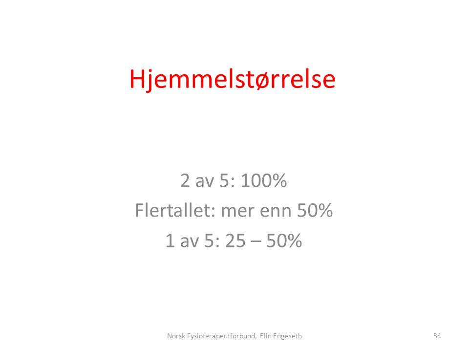 2 av 5: 100% Flertallet: mer enn 50% 1 av 5: 25 – 50% 34Norsk Fysioterapeutforbund, Elin Engeseth Hjemmelstørrelse