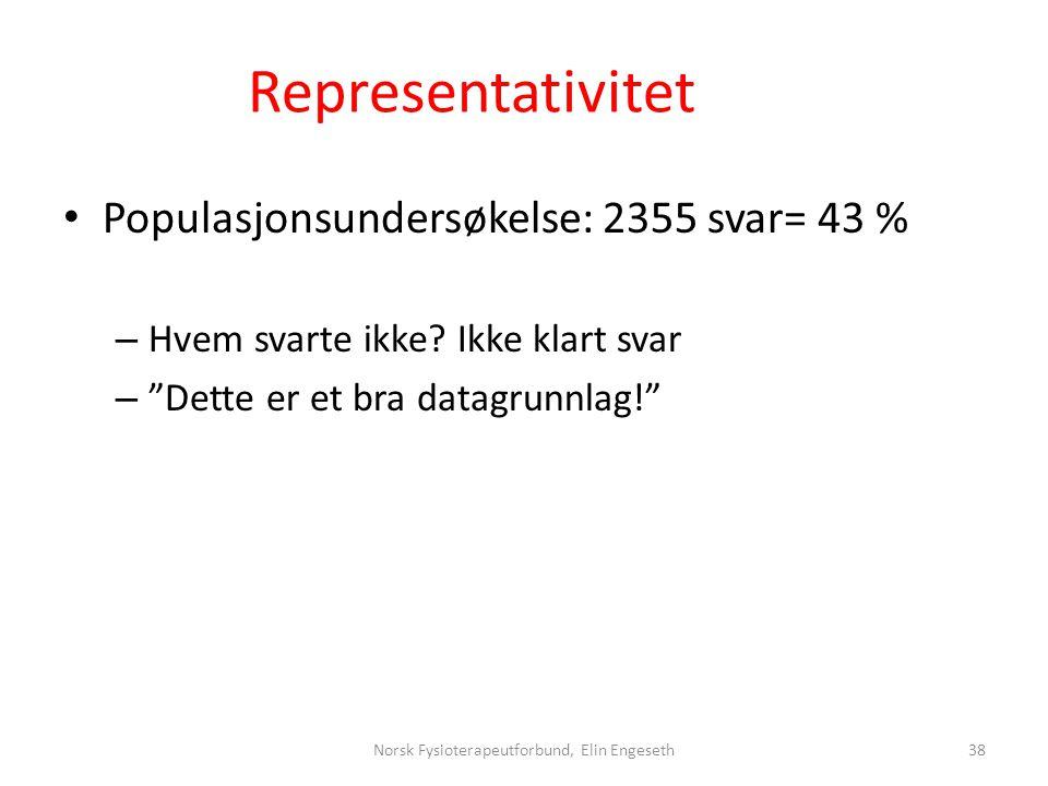 """Representativitet • Populasjonsundersøkelse: 2355 svar= 43 % – Hvem svarte ikke? Ikke klart svar – """"Dette er et bra datagrunnlag!"""" Norsk Fysioterapeut"""