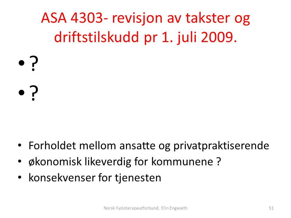 ASA 4303- revisjon av takster og driftstilskudd pr 1. juli 2009. • ? • Forholdet mellom ansatte og privatpraktiserende • økonomisk likeverdig for komm