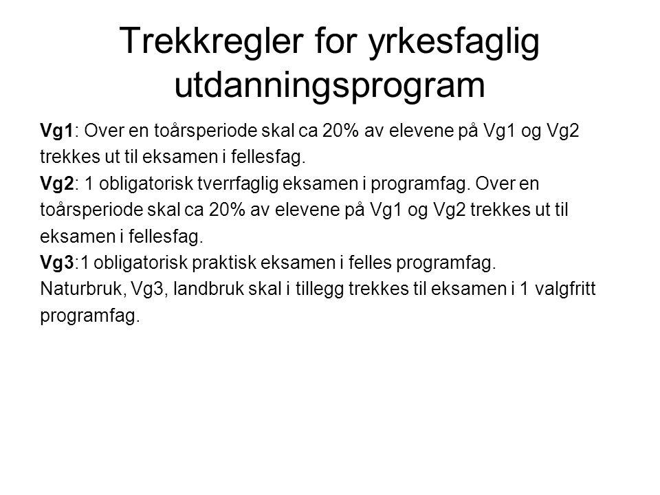 Trekkregler for yrkesfaglig utdanningsprogram Vg1: Over en toårsperiode skal ca 20% av elevene på Vg1 og Vg2 trekkes ut til eksamen i fellesfag.