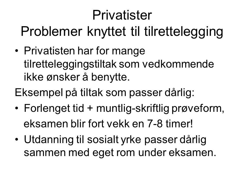 Privatister Problemer knyttet til tilrettelegging •Privatisten har for mange tilretteleggingstiltak som vedkommende ikke ønsker å benytte. Eksempel på