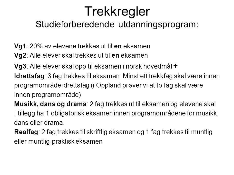Trekkregler Studieforberedende utdanningsprogram: Vg1: 20% av elevene trekkes ut til en eksamen Vg2: Alle elever skal trekkes ut til en eksamen Vg3: Alle elever skal opp til eksamen i norsk hovedmål + Idrettsfag: 3 fag trekkes til eksamen.
