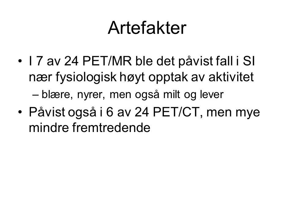 Artefakter •I 7 av 24 PET/MR ble det påvist fall i SI nær fysiologisk høyt opptak av aktivitet –blære, nyrer, men også milt og lever •Påvist også i 6