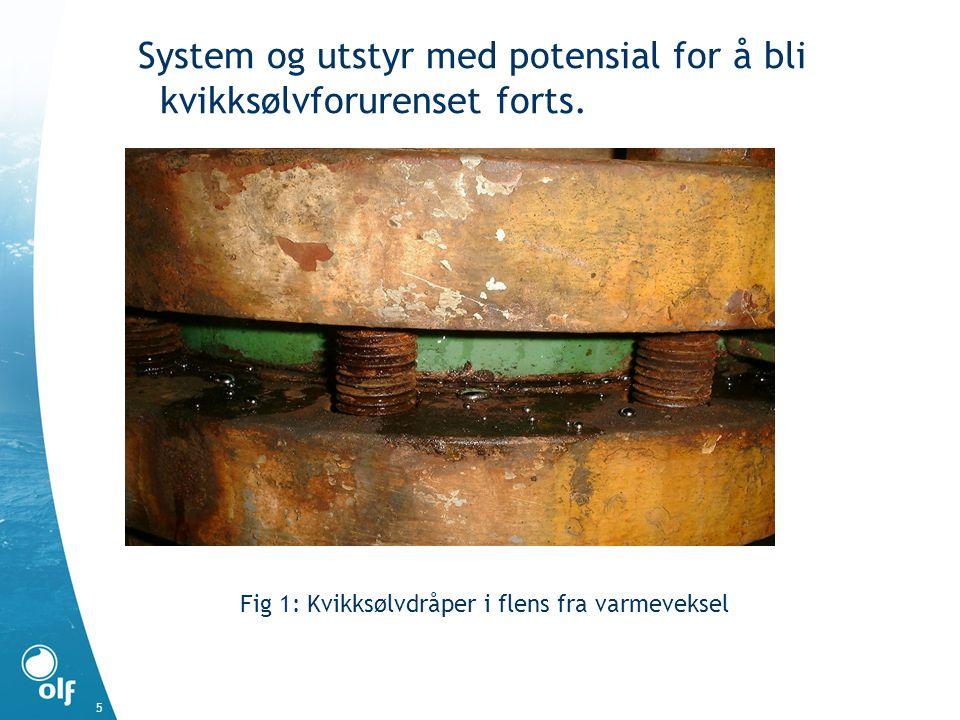 System og utstyr med potensial for å bli kvikksølvforurenset forts. Fig 1: Kvikksølvdråper i flens fra varmeveksel 5