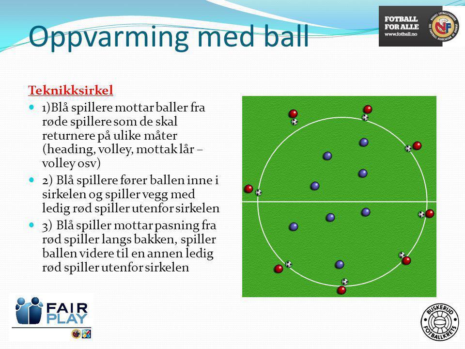 Oppvarming med ball Teknikksirkel  1)Blå spillere mottar baller fra røde spillere som de skal returnere på ulike måter (heading, volley, mottak lår –