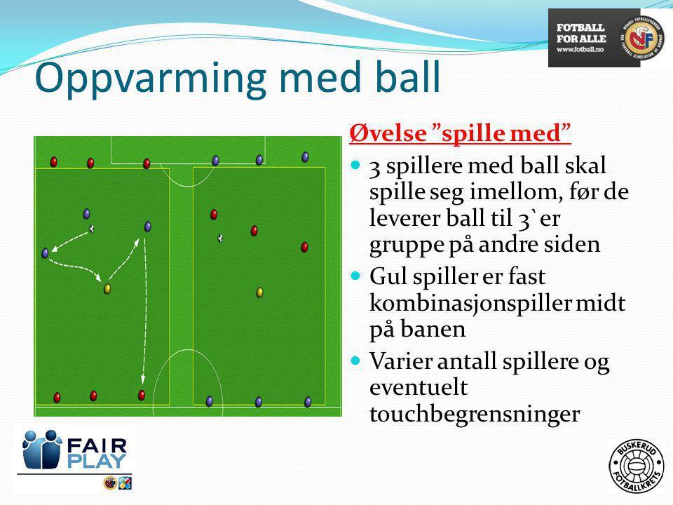 Oppvarming med ball Øvelse spille med  3 spillere med ball skal spille seg imellom, før de leverer ball til 3`er gruppe på andre siden  Gul spiller er fast kombinasjonspiller midt på banen  Varier antall spillere og eventuelt touchbegrensninger