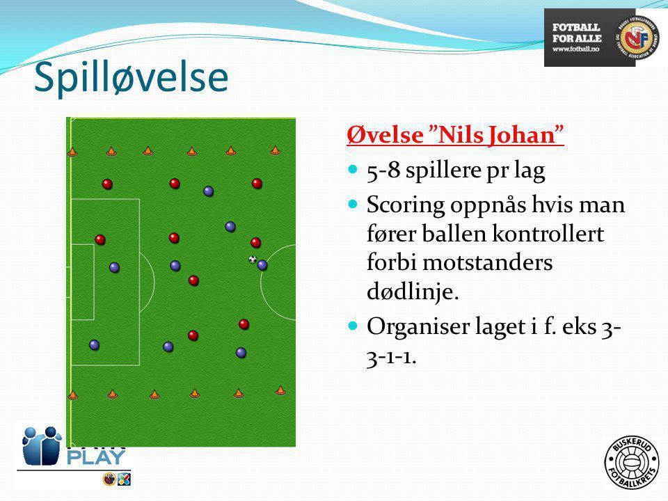 """Spilløvelse Øvelse """"Nils Johan""""  5-8 spillere pr lag  Scoring oppnås hvis man fører ballen kontrollert forbi motstanders dødlinje.  Organiser laget"""