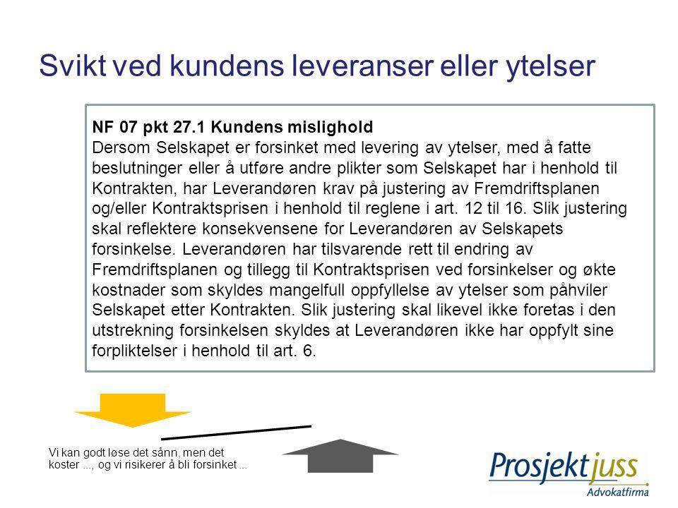 Svikt ved kundens leveranser eller ytelser NF 07 pkt 27.1 Kundens mislighold Dersom Selskapet er forsinket med levering av ytelser, med å fatte beslut