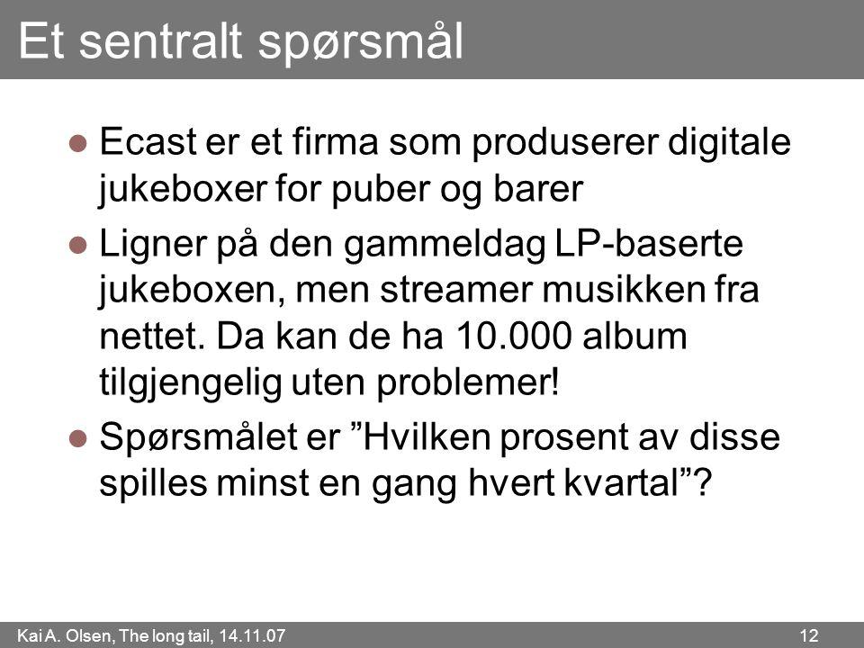 Kai A. Olsen, The long tail, 14.11.07 12 Et sentralt spørsmål  Ecast er et firma som produserer digitale jukeboxer for puber og barer  Ligner på den