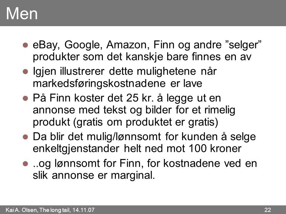 """Kai A. Olsen, The long tail, 14.11.07 22 Men  eBay, Google, Amazon, Finn og andre """"selger"""" produkter som det kanskje bare finnes en av  Igjen illust"""