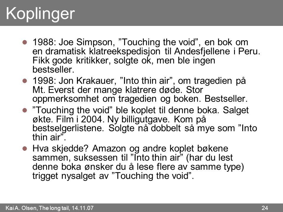 """Kai A. Olsen, The long tail, 14.11.07 24 Koplinger  1988: Joe Simpson, """"Touching the void"""", en bok om en dramatisk klatreekspedisjon til Andesfjellen"""