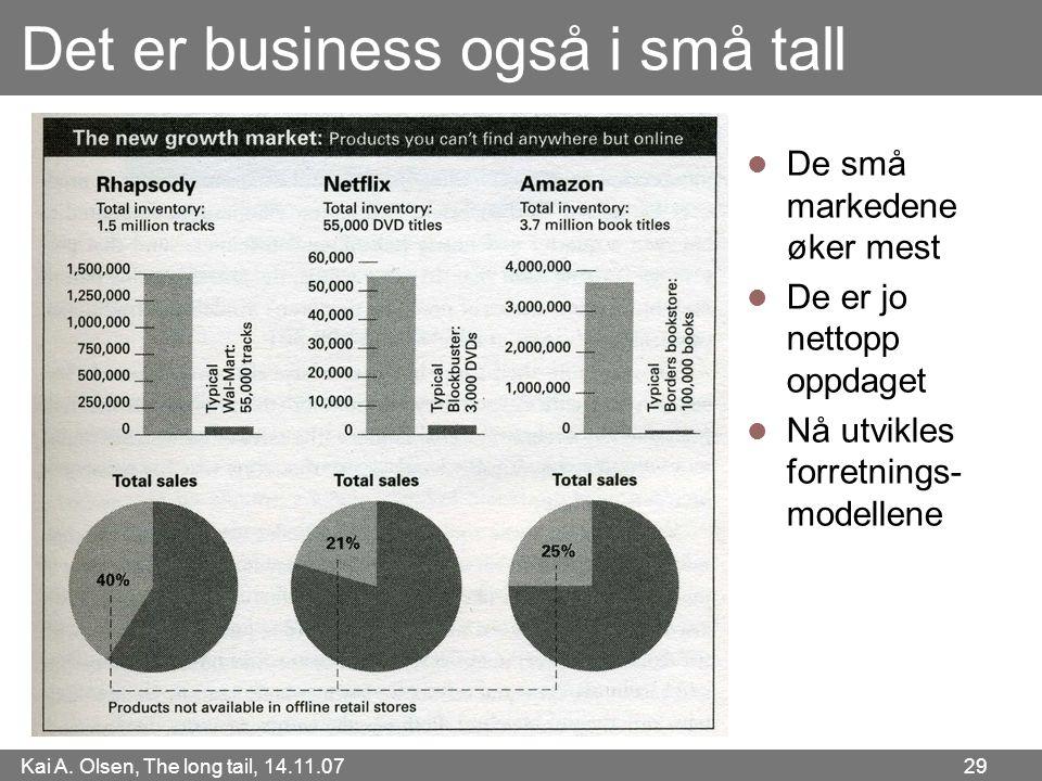 Kai A. Olsen, The long tail, 14.11.07 29 Det er business også i små tall  De små markedene øker mest  De er jo nettopp oppdaget  Nå utvikles forret