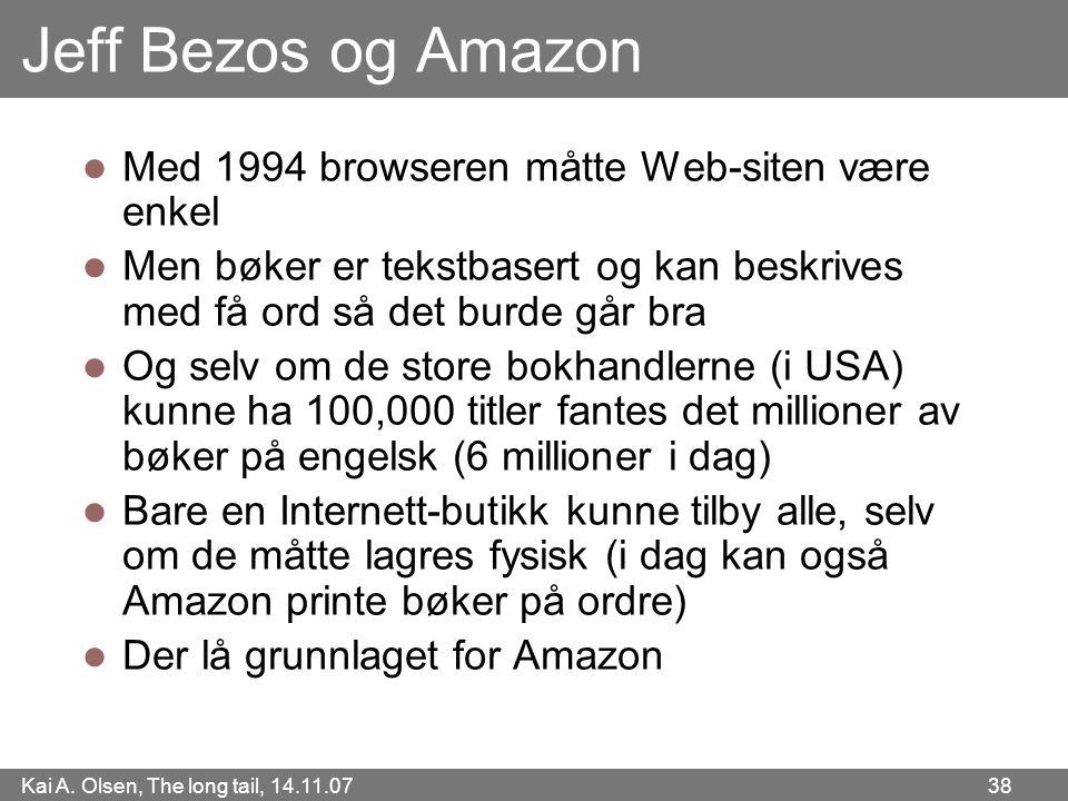 Kai A. Olsen, The long tail, 14.11.07 38 Jeff Bezos og Amazon  Med 1994 browseren måtte Web-siten være enkel  Men bøker er tekstbasert og kan beskri